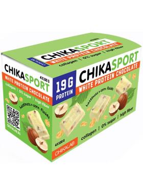 Протеиновый белый шоколад без сахара с фундуком и кукурузными чипсами