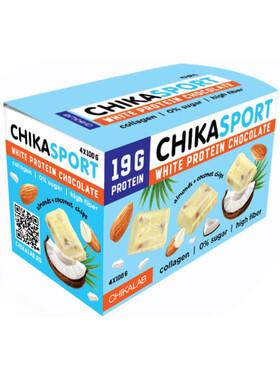 Протеиновый белый шоколад без сахара с миндалем и кокосовыми чипсами